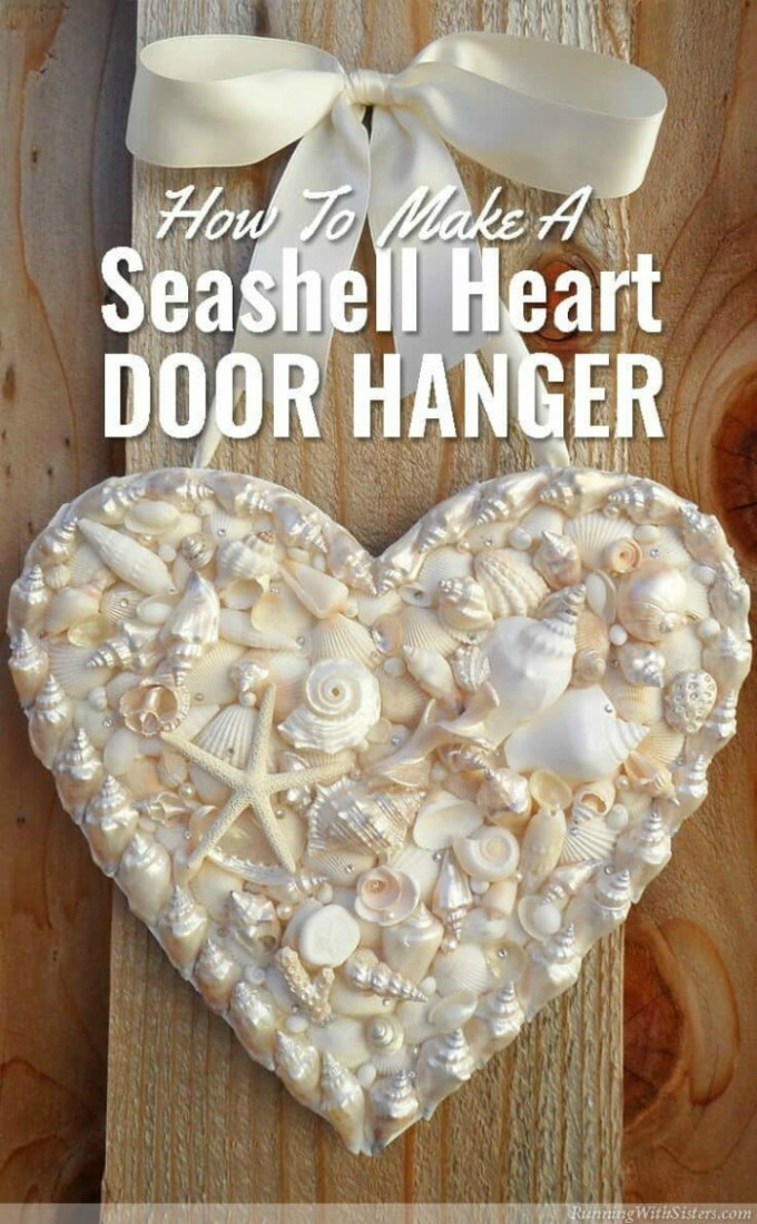 seashell heart door hanger