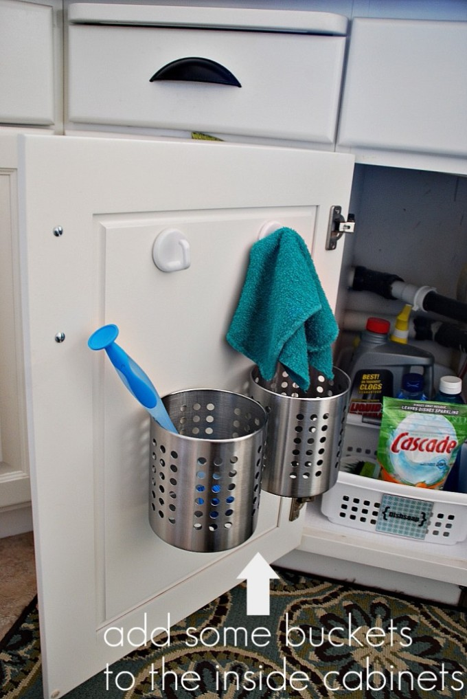 bucket storage inside cabinet