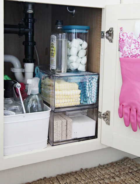 clear container storage under the sink