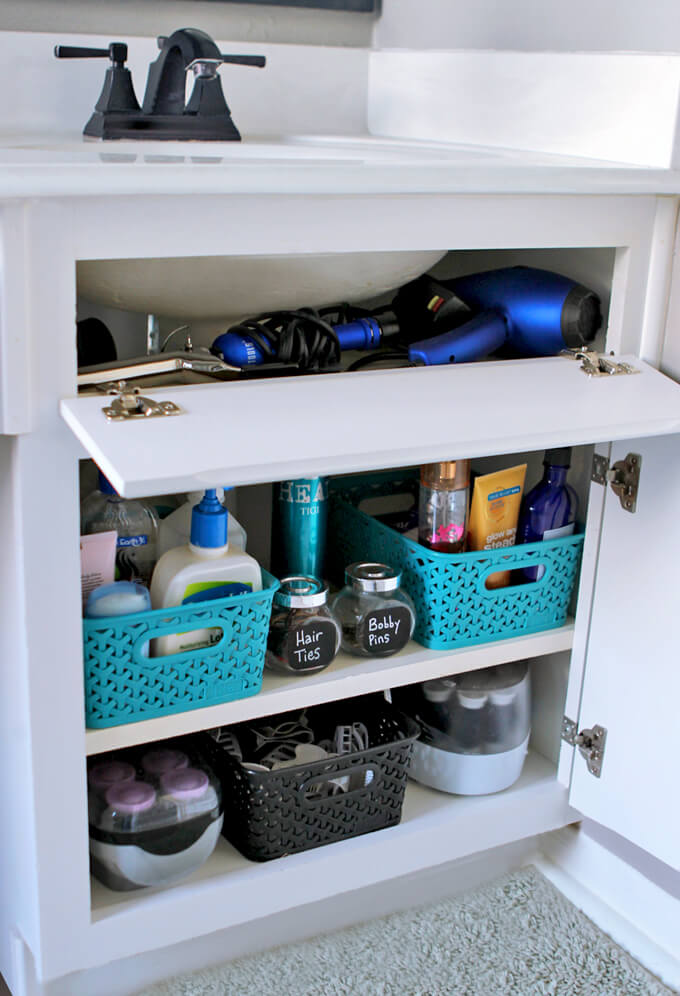 hair styling tools storage idea