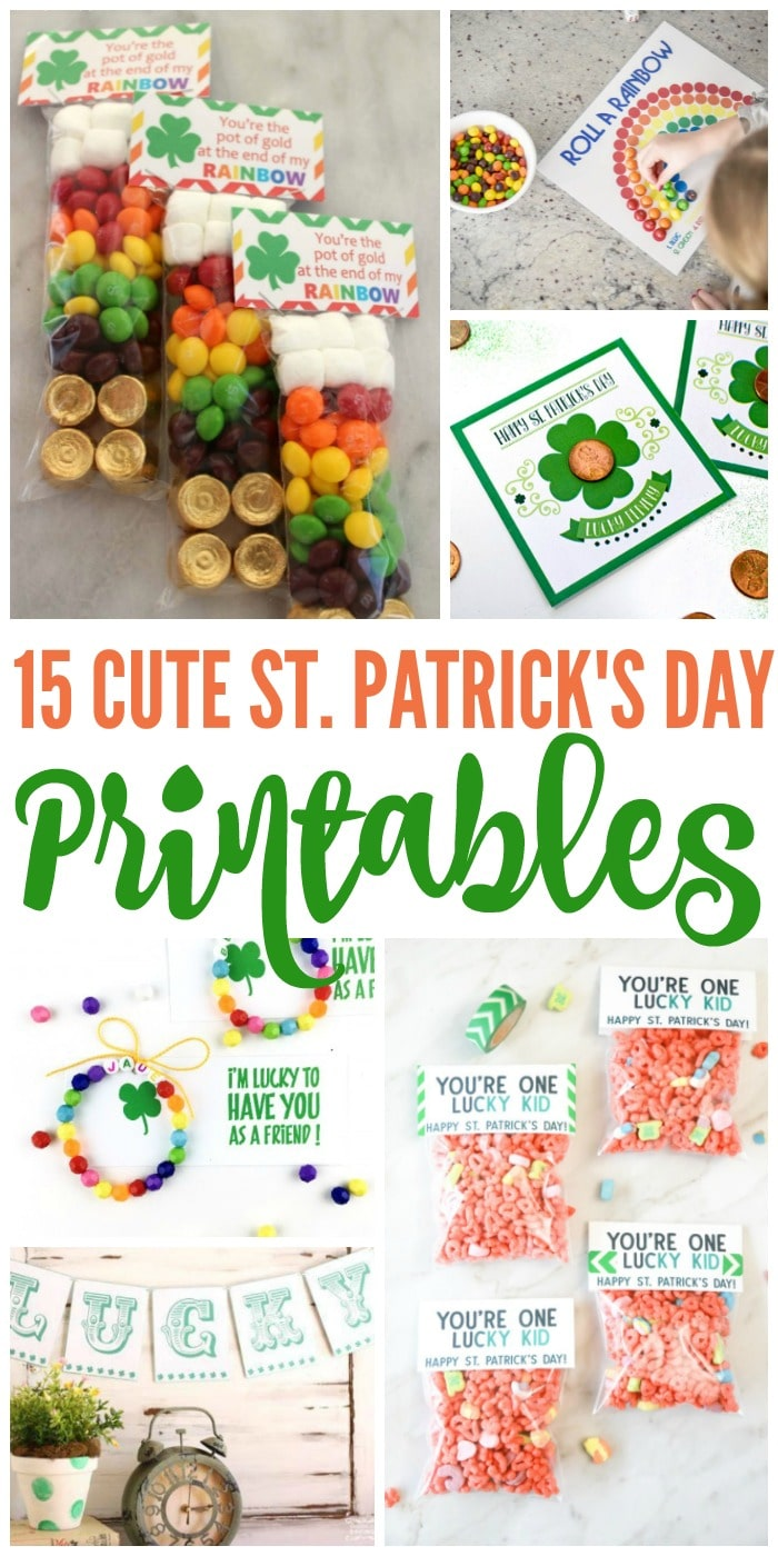 Want to kick St. Paddy's Day off right? These fun and free St. Patrick's Day printables include everything from games to decor to treat toppers. #15 is such a cute idea!