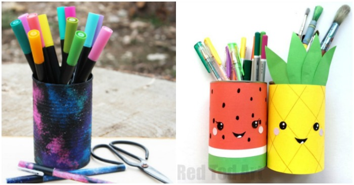 Pencil holders made from recycled tin cans