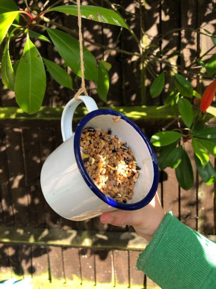 simple mug bird feeder
