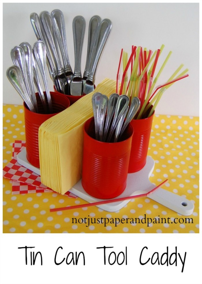 tin can utensil caddy