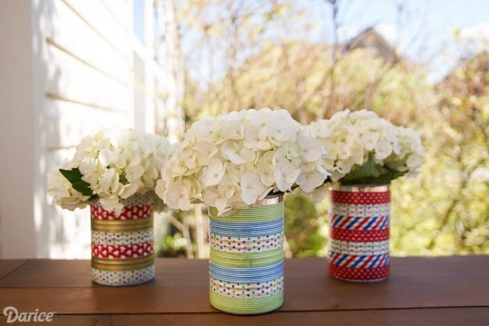 washi tape tin can centerpieces