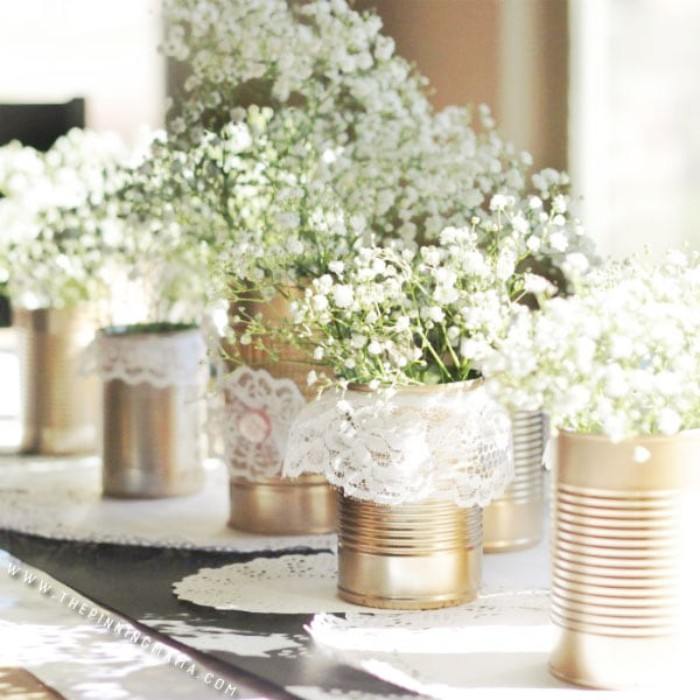 tin can wedding centerpieces