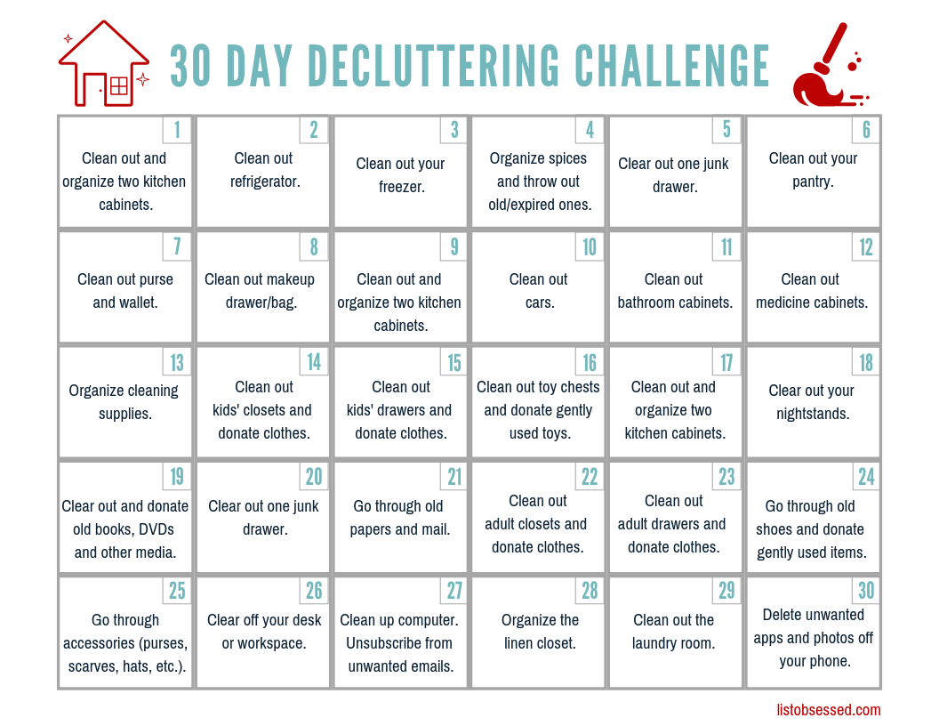 Printable 30 Day Declutter Challenge