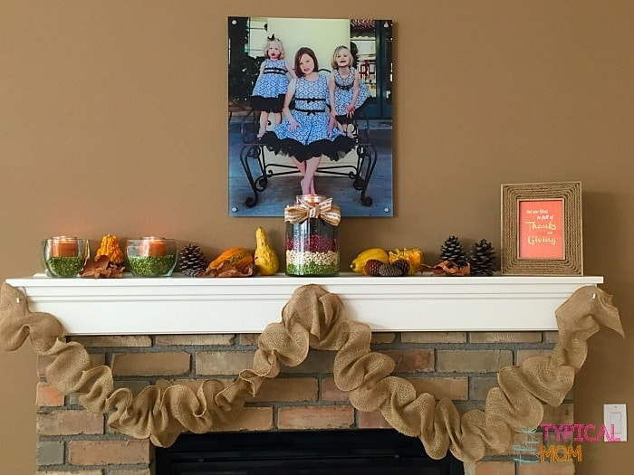 burlap garland on fireplace mantle by The Typical Mom