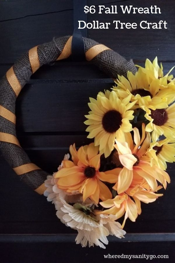 dollar tree fall wreath by Where'd My Sanity Go