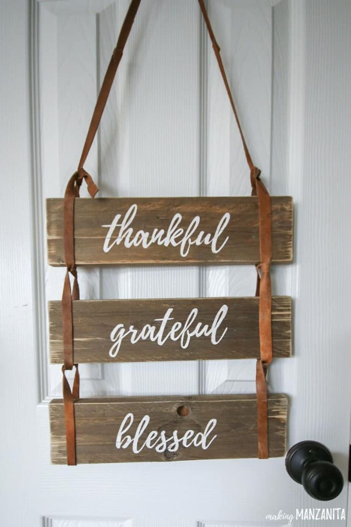 thankful grateful blessed pallet sign
