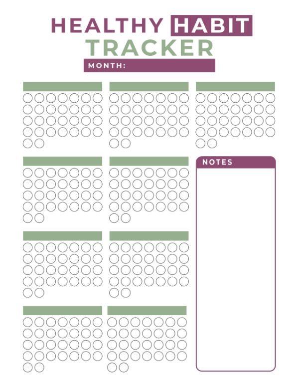 blank healthy habit tracker printable