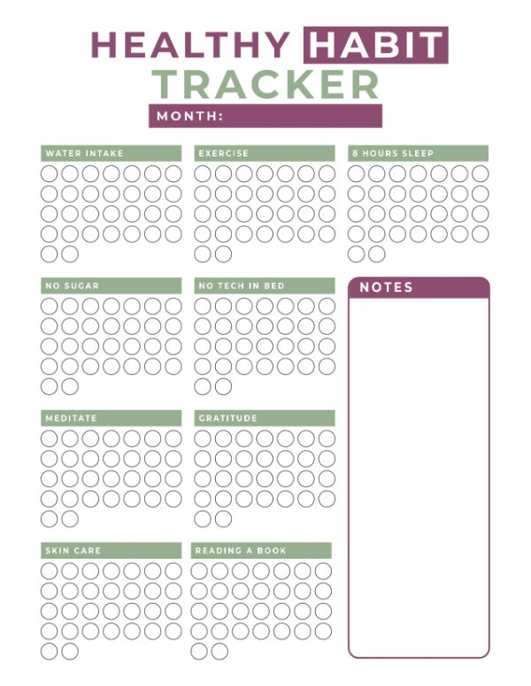 filled in healthy habit tracker printable