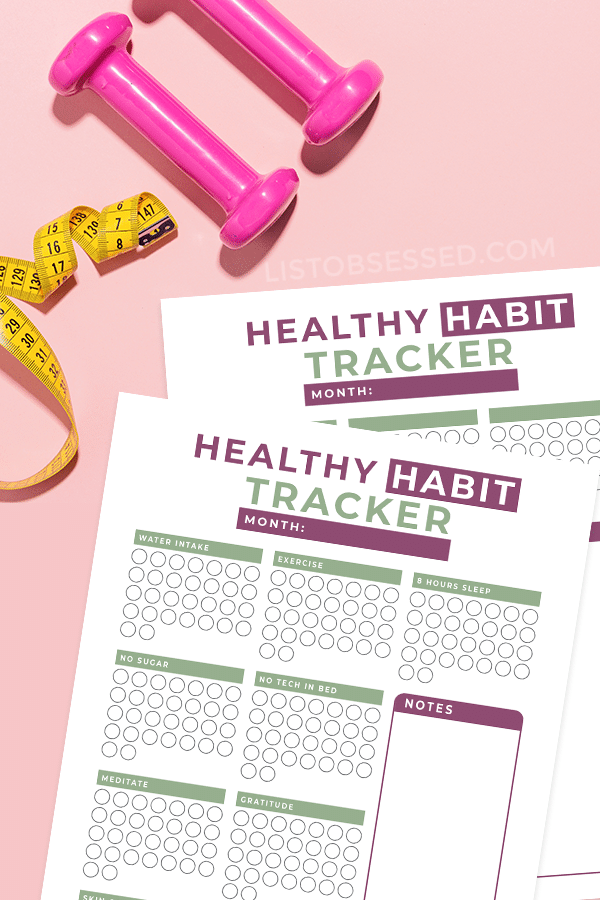 printable habit tracker on pink background with measuring tape and dumbbells