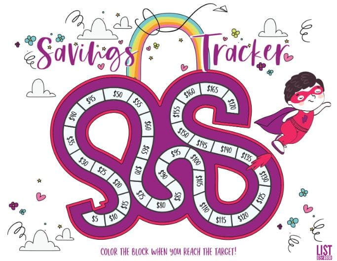 Color version of the printable savings tracker for kids